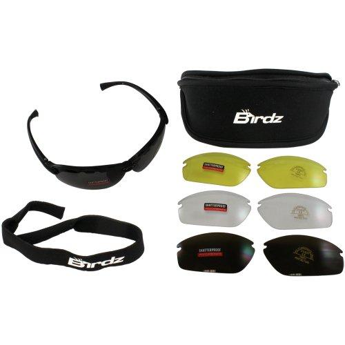 Birdz Eyewear HawkKit2 Interchangeable Glasses (Black Frame/Clear, Smoke, Amber, Yellow Lens) - Set of - Sunglasses Birdz
