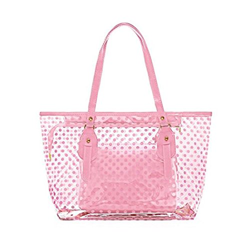 Girl Tote Handbag - STONG Waterproof Clear Beach Tote Bags Transparent PVC Zipper Polka Dot Beach Shoulder Handbag with Interior Pouch for Home Office Beach (Pink)