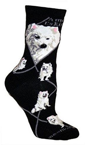American Eskimo Dog Animal Socks On Black 9-11