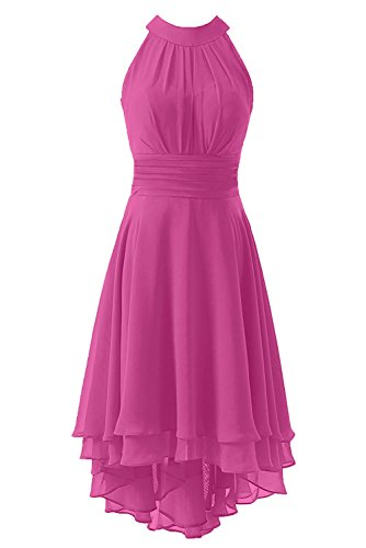 Kevins Bridal Women's High Low Short Bridesmaid Dresses Chiffon Halter Prom Dress Hot Pink Size 18W