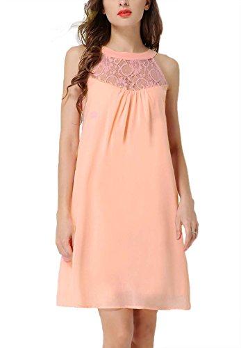Peach Cocktail (DREAGAL Women's Scoop Neck Loose Fit Floral Lace Mini Dress Peach Small)