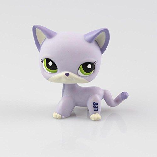 Littlest Pet Toys Shorthair Kitten Cat LPS Rare Standing Cat Mask Short Hair for Kids Gift (Purple, Green Eyes, White Ears) (Shorthair Cat)