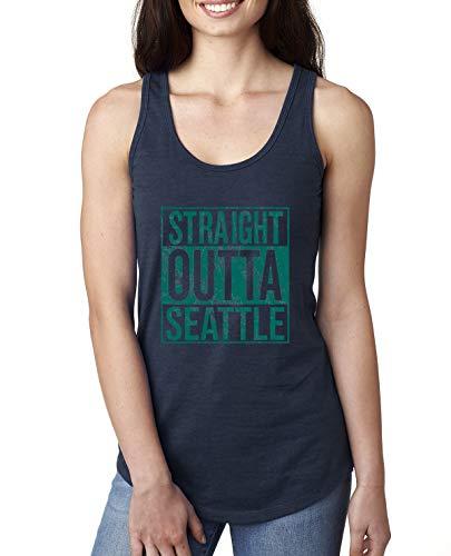 Straight Outta Seattle SEA Fan   Fantasy Baseball Fans   Womens Sports Jersey Racerback Tank Top, Navy, Small
