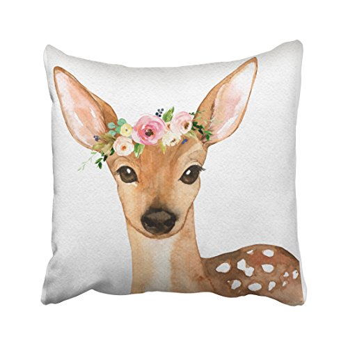 Deer Decorative (Shorping Zippered Pillow Covers Pillowcases 16X16 Inch boho woodland deer baby girl nursery floral pillow Decorative Throw Pillow Cover ,Pillow Cases Cushion Cover for Home Sofa Bedding)