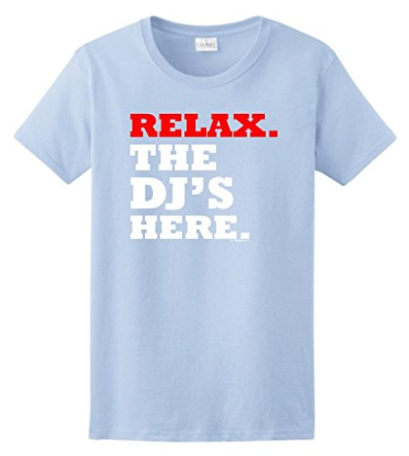 Here Womens Light T-shirt - Relax the DJ's Here Ladies T-Shirt 3XL Light Blue