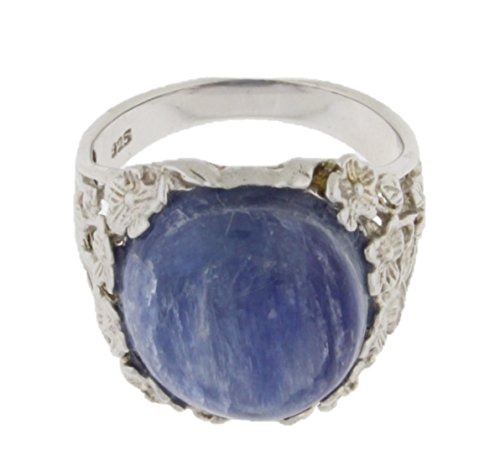 Sterling Silver Kyanite with Flowers Oval Ring & Gift Box