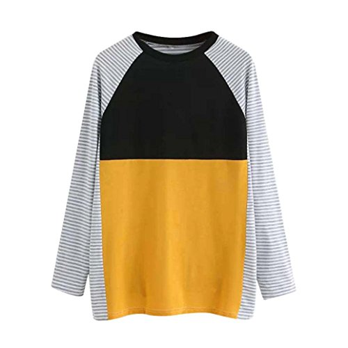 T Pull en Shirts Blouse Femme Longues Shirts Tops Femme Rayure Shirts T Sexy Col Coton T Automne Femme Shirts Femme Shirts Manches Femme Epissage Chic Rond T T Hiver Jaune MVPKK Chemise lgant dWYnREqCwd