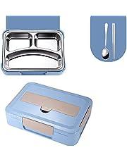 Tarwe Straw Food Container Roestvrijstalen Lunchbox met Compartimenten Draagbare Tas Leakproof Thermo Bento Box School Kids