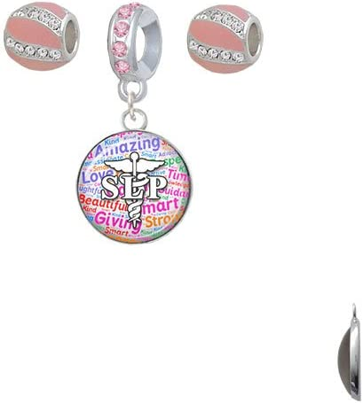 Delight Jewelry Anchor with Heart Pink Sparkle Crystal Charm Beads Set of 3