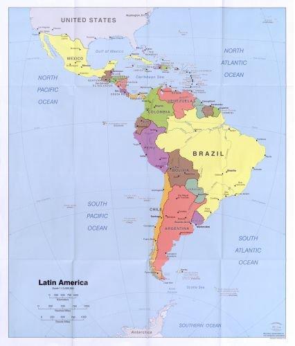 2006 Map Latin America. - Size: 20x24 - Ready to Frame - Latin America   Latin America