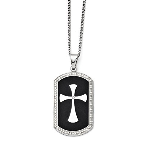UPC 886774261010, Chisel Stainless Steel Black IP-plated Polished Dog Tag Cross with CZ Necklace 22""