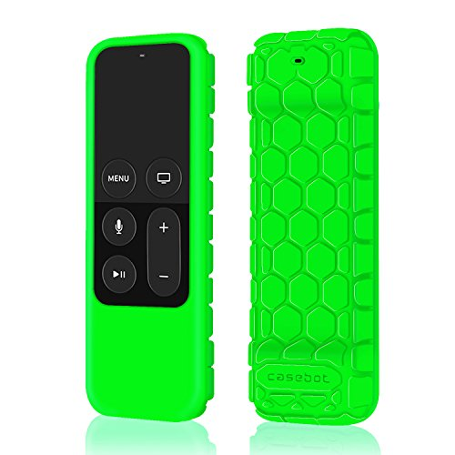 Fintie Protective Case for Apple TV 4K/4th Gen Remote - Casebot [Honey Comb Series] Light Weight [Anti Slip] Shock Proof Silicone Cover for Apple TV 4K Siri Remote Controller, Green