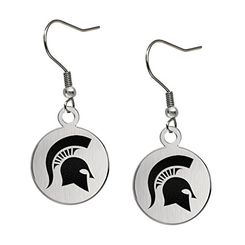 (Michigan State University Spartans Satin Finish Stainless Steel Disc Earrings)