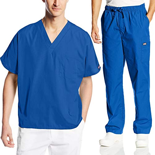 Cherokee Mens Workwear Scrub Set Medical/Dentist Uniform V-Neck Top & Cargo Pant (Royal, Large) ()