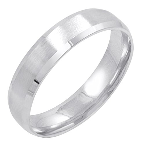 Men's 10K White Gold 5mm Comfort Fit Satin Finish Beveled Edge Wedding Band (Available Ring Sizes 8-12 1/2) Size 8.5