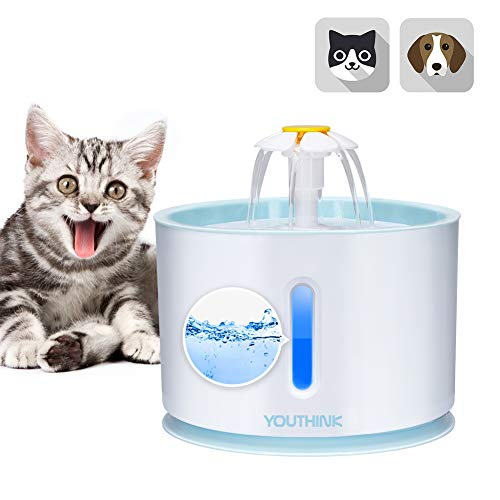 YOUTHINK Pet Fountain Cat Fountain, 2.4L Automatic Cat Flower Water Fountain, Ultra Quiet Water Level Window, Cat Water Fountain with LED Light and 1 Charcoal Filter for Dogs and Cats - Charcoal Windows