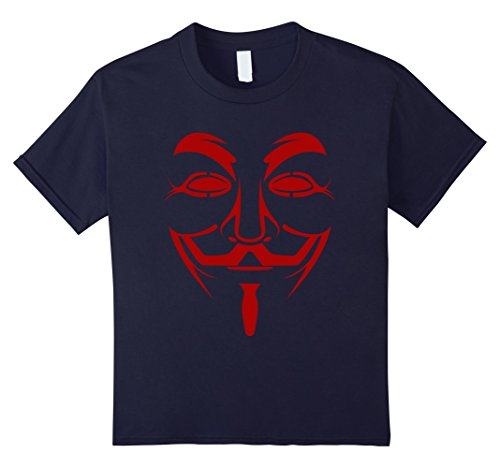 Kids Guy Fawkes Mask Costume T-Shirt 10 Navy