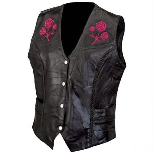 Live-ride-rock Ladies Rock Design Genuine Buffalo Leather Vest- 2x by Diamond Plate