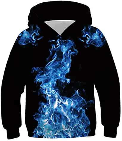 QGYMX Kids Preston Playz Ice Cream Flame Hoodie Casual Soft Fleece Sweatshirts for Boys or Girls