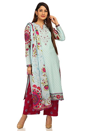 BIBA Women's Sky Blue Straight Cotton Suit Set Size 34 (Suit Salwar Blue)