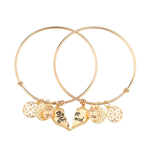 Lux Accessories Best Friends Forever BFF Charm Bracelet Set (2 PC). (Costumes For 2 Friends)