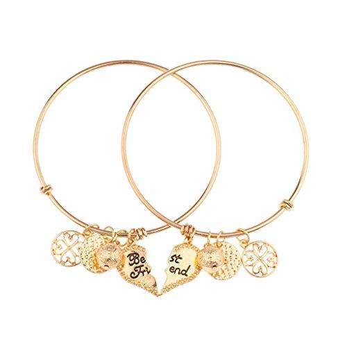 Lux Accessories Best Friends Forever BFF Charm Bracelet Set (2 PC).