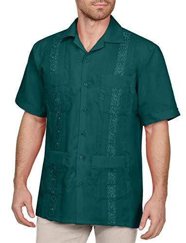 - NE PEOPLE Men's Short Sleeve Cuban Guayabera Button Down Shirts Top XS-4XL