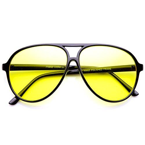 Retro 80's Style Driving Lens XL Large Plastic Aviator Sunglasses (Black Yellow) 80's Retro Aviator Sunglasses