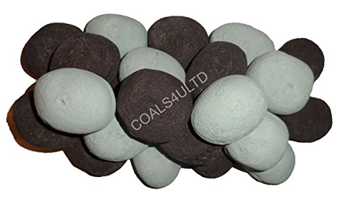 30 Duck Egg Blue// brown Gas fire Ceramic Pebbles Replacements//Bio Fuels//Ceramic NEW /& EXCLUSIVE TO COALS 4 U
