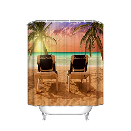 Set Sunday Palm (Hawaiian Beach Chair Palm Tree Sunset Beach Turquoise Sea Water Shower Curtain Mildew-Free Fabric For Bathroom 72''X72'' Inch Water-Repellent Polyester)