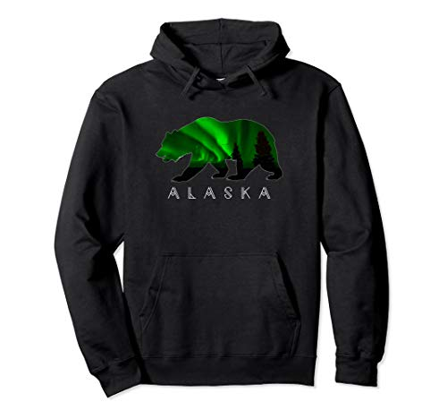 Alaskan Bear with Green Aurora Borealis & Trees HOODIE