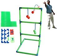 Ladder Toss Game Set with 6 Pairs Green Red Golf-Ball Bolas for Indoor Outdoor Backyard Camping Fun   Includes