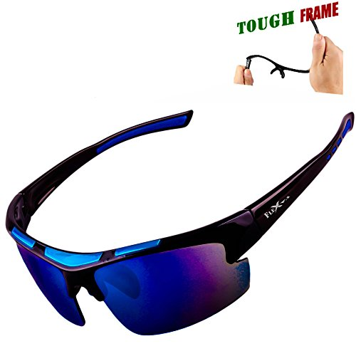 FLEX – Polarized Sports Sunglasses for Men or Women, Ultra Tough TR90 Frame and 100% UV protection lens, Sunglasses for Driving Ski Cycling Fishing Running Baseball Golf Biking and other Outdoor Activities. Mirrored blue lens, black and blue frame.