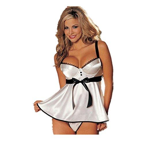 [Sexy Lingerie,BeautyVan Lace lingerie White babydoll Dress Sleepwear Nightwear Underwear G-String] (Male Sheep Costume)
