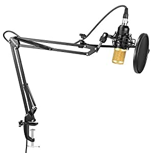 Neewer NW-8000 Professional Studio Condenser Microphone and Adjustable Suspension Scissor Arm Stand with Shock Mount, Pop Filter and Table Mounting Clamp Kit for Broadcasting and Sound Recording