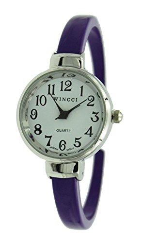Women's Classic Easy Read Bangle cuff Watch-Purple - Watch Purple Cuff