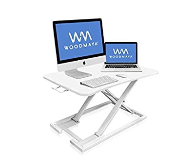"""WOODMAYA Height Adjustable Standing Desk with Premium Air Pump Lift - Desk Stand Raiser - Instantly Convert to a Sit to Stand Desk 29""""x19""""(White)"""