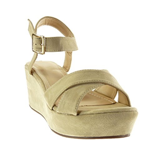 Angkorly - Chaussure Mode Sandale lanière cheville plateforme femme boucle Talon compensé plateforme 7 CM - Beige