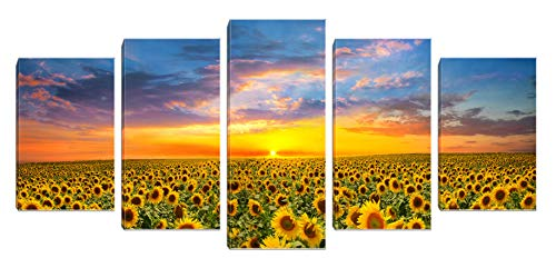 Sunflower Canvas Print Wall Art Landscape Painting Picture Framed for Living Room Bedroom Bathroom Decor 5 Panels Yellow (Sunflower 5 Panel)