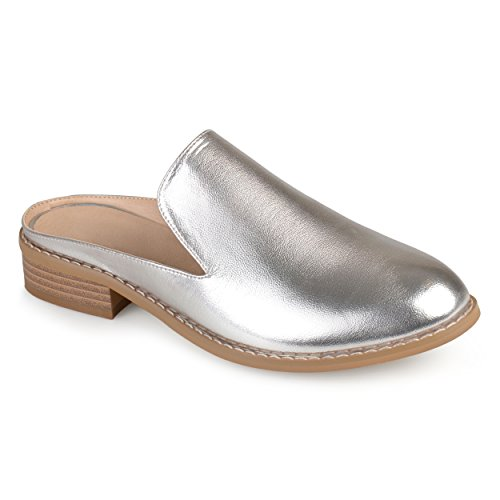 Journee Collection Womens Faux Leather Slide-On Mules Silver