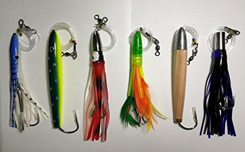Cedar Plug–Tuna Feather–Jet Head Trolling Lures 6 Pieces Combo B - Jet Head Lure