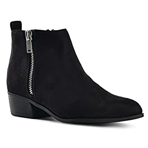 LUSTHAVE Riley Women's Chelsea Round Toe Western Cowgirl Low Heel Closed Toe Casual Ankle Bootie by Black 10