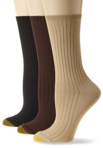 Gold Toe Women's Softwear Dress Rib 3 Pair Socks, Sandstone/Chocolate/Black, 9-11