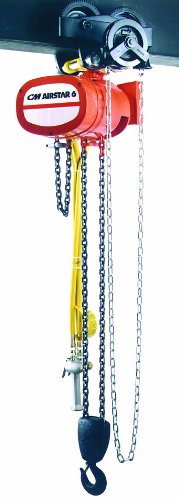 CM 7407B AirStar 6 Air Hoist with Pendant Throttle Control and Hook Suspension, 6000 lbs Capacity, 10' Lift Height, 10 fpm Lift Speed, 70 SCFM, 90 (10 Fpm Lift)