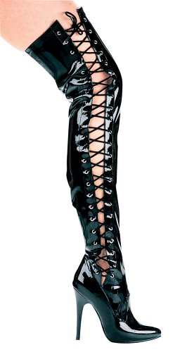 Schwarz with High Stretch 5 inch Killer Side Lace Boot Ferocious Thigh Heels BoqUwF