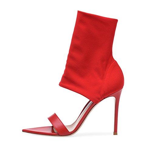44 Bottes De KJJDE Sexy Femme Soirée Élastique Plateforme Haut en Fête Mariage Red Tissu 084 Talon Club Mode Transgenre TLJ AqHqg