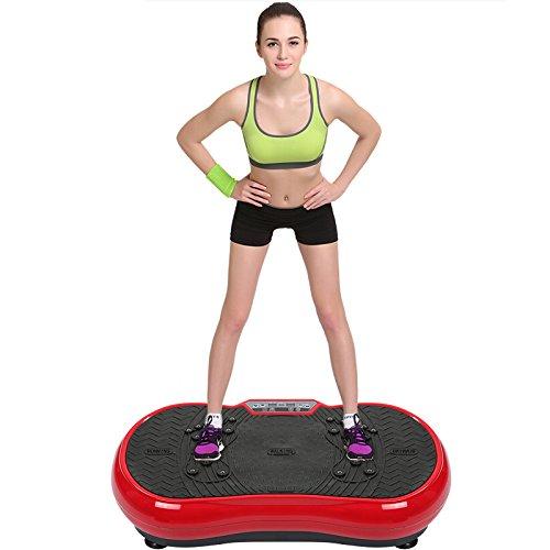 POPSPARKk Profi Vibrationsplatte Fitness vibrationsgerät mit magnetfeldtherapie zugseil Rüttelplatte Rutschsicherer Trainingsfläche LED Display