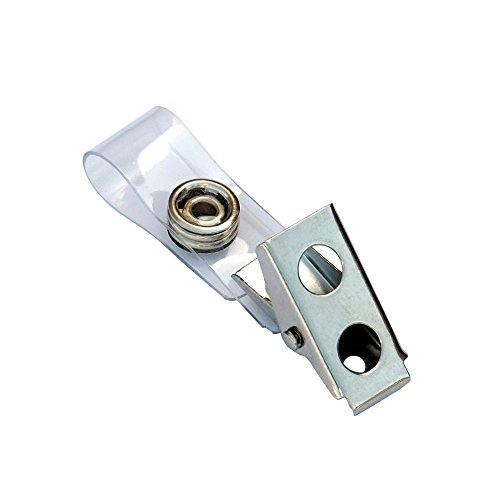 TruBadge Metal Badge Clips with PVC Straps - Clothing Friendly Bulldog Clip Attachments - Perfect for Offices, Trade Shows, Conventions, and Other Large Events - 100 Per Pack