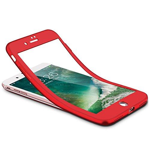 Custodia Cover 360 gradi Protezione per iPhone 6/6S plus Silicone Morbida,Ukayfe [2 in 1] Completa Full Body Cover in Vetro Temperato Screen Protector Film Ultra Resistente per iPhone 6/6S plus Flexib Doro