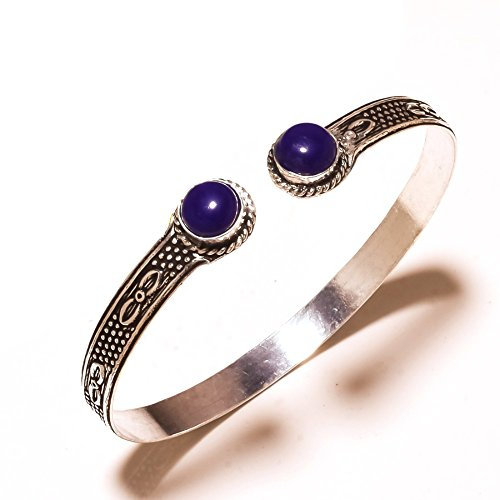 Gift Jewelry! Blue Dyed Sapphire Sterling Silver Overlay 10 Grams Bangle/Bracelet Free Size by Shivi